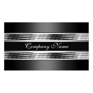 Elegant Silver Chrome Metal Black 3 Double-Sided Standard Business Cards (Pack Of 100)