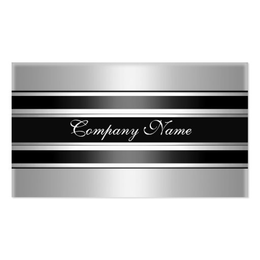 Elegant Silver Chrome Metal Black Business Card Templates