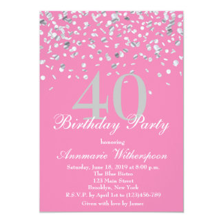 Elegant Silver Confetti Birthday Invitation