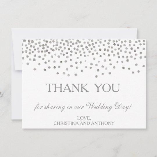 Ypus Silver Wedding Thank: Elegant Silver Confetti Wedding Thank You Note