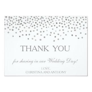 Elegant Silver Confetti Wedding Thank You Note Card