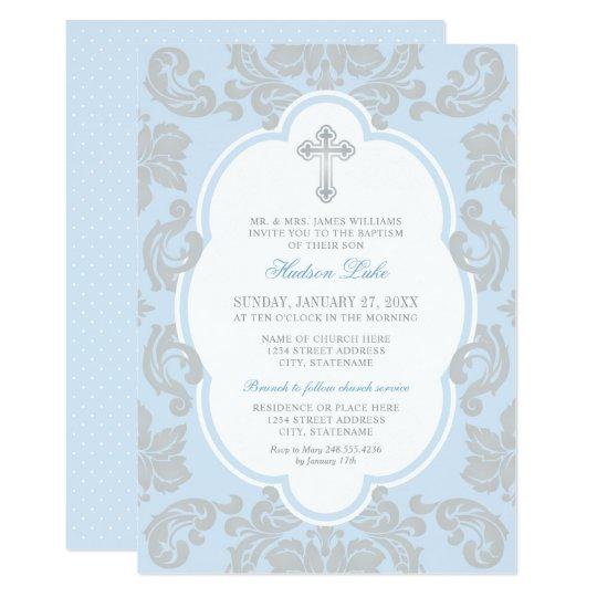 Elegant Silver Cross Blue Baby Boy Baptism Invitation