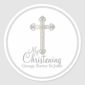elegant silver cross CHRISTENING party favor label Classic Round Sticker