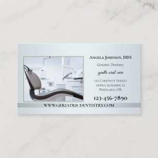 Elegant Silver Custom Photo Dentist Business Card