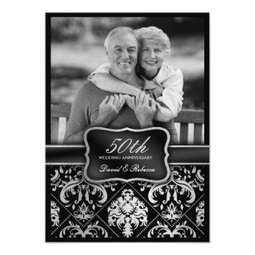 Elegant Silver Damask 50th Wedding Anniversary 5x7 Paper Invitation Card