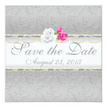 Elegant Silver Damask and Pink Rose Save the Date Personalized Announcements