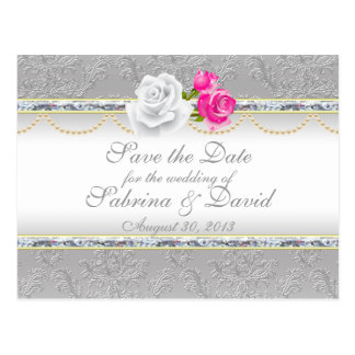 Elegant Silver Damask and Pink Rose Save the Date Postcard