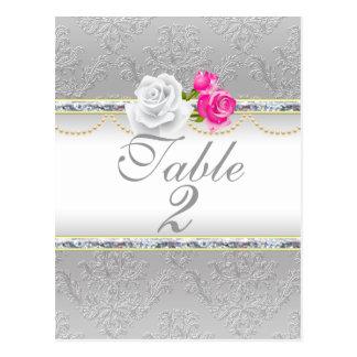 Elegant Silver Damask and Pink Rose  Table Number Postcard