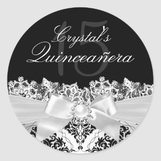Elegant Silver Damask & Bow Quinceanera Sticker