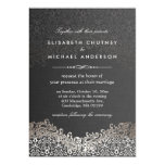 Elegant Silver Damask - Classic Formal Wedding 5x7 Paper Invitation Card