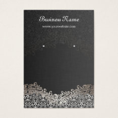 Elegant Silver Damask Earring Display Cards at Zazzle