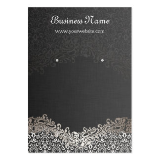 Elegant Silver Damask Earring Display Cards Large Business Card