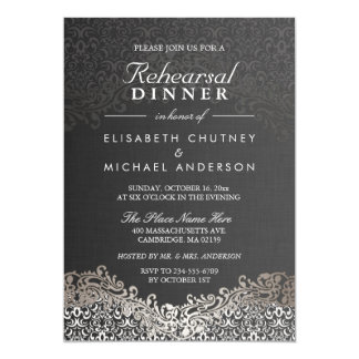 Damask rehearsal dinner invitations announcements zazzle elegant silver damask formal rehearsal dinner card thecheapjerseys Images