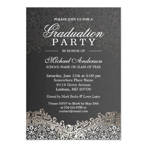 elegant silver damask grad graduation party card
