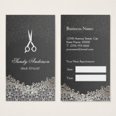Elegant Silver Damask - Hair Stylist Appointment Business Card at Zazzle
