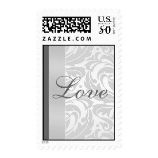 Elegant Silver Damask Scroll Love Postage