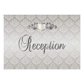 Elegant Silver Damask Style Wedding 1 Large Business Cards (Pack Of 100)