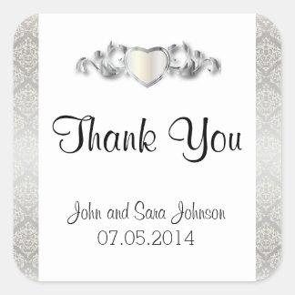 Elegant Silver Damask Style Wedding 2 Square Sticker