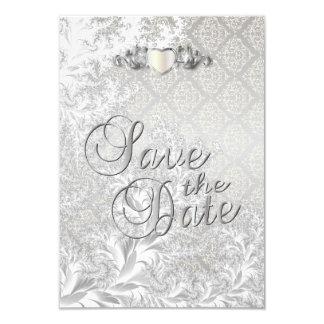 Elegant Silver Damask Style Wedding 3 Card