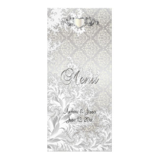 Elegant Silver Damask Style Wedding 3 Rack Card