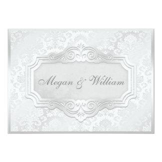 Elegant Silver Damask Wedding Card