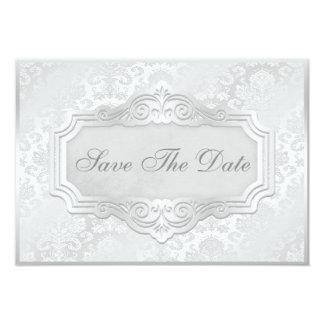 Elegant Silver Damask Wedding Save The Date Card