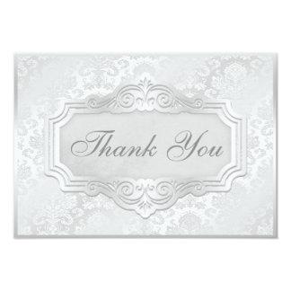 Elegant Silver Damask Wedding Thank You Card