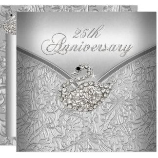 Elegant Silver Damask White Swan 25th Anniversary Invitation