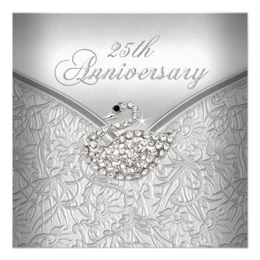 Elegant Silver Damask White Swan 25th Anniversary Personalized Invitation