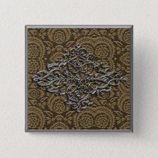 Elegant Silver Decoration on Bronze Pinback Button