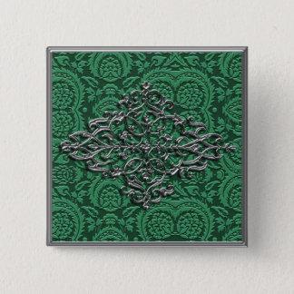 Elegant Silver Decoration on Green Button