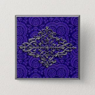 Elegant Silver Decoration on Purple Pinback Button