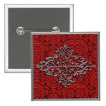 Elegant Silver Decoration on Red Pin