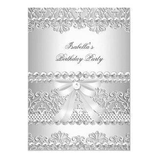 Elegant Silver Diamond White Lace Birthday Party 5x7 Paper Invitation Card