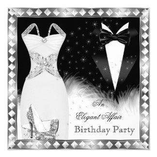 Elegant Silver Dress Black Tie Birthday Party Invitation
