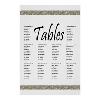 Elegant Silver Faux Glitter 10 Table Seating Chart