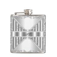 Elegant Silver Floral Metal look Monogram Name Hip Flask