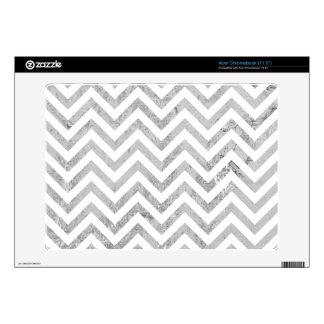 Elegant Silver Foil Zigzag Stripes Chevron Pattern Acer Chromebook Skin
