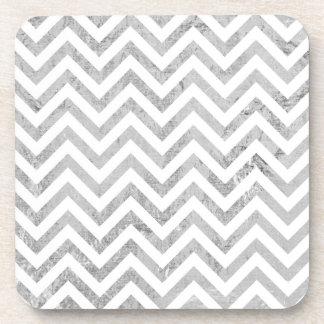 Elegant Silver Foil Zigzag Stripes Chevron Pattern Coaster