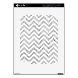 Elegant Silver Foil Zigzag Stripes Chevron Pattern Decal For iPad 3