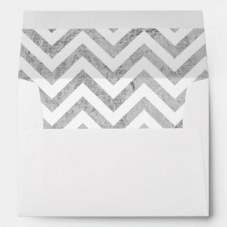 Elegant Silver Foil Zigzag Stripes Chevron Pattern Envelope