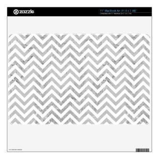Elegant Silver Foil Zigzag Stripes Chevron Pattern MacBook Air Decal