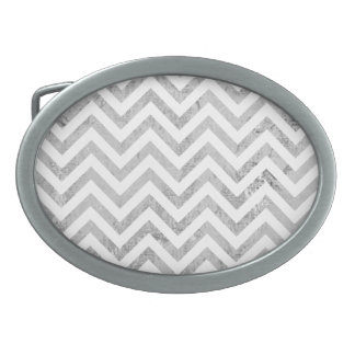 Elegant Silver Foil Zigzag Stripes Chevron Pattern Oval Belt Buckle