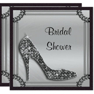 Elegant Silver Framed Black Stiletto Bridal Shower Card