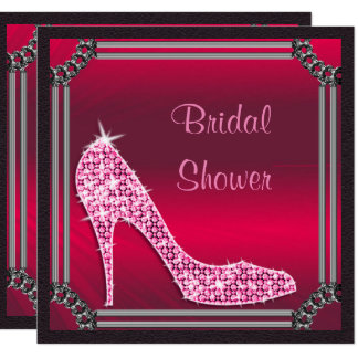 Elegant Silver Framed Pink Stiletto Bridal Shower Card
