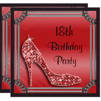 Elegant Silver Framed Red Stiletto 18th Birthday Card