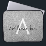 """Elegant Silver Glitter and Sparkle Monogram Laptop Sleeve<br><div class=""""desc"""">Elegant Silver Faux Glitter and Sparkle Elegant Monogram Case. This case can be customized to include your initial and first name.</div>"""