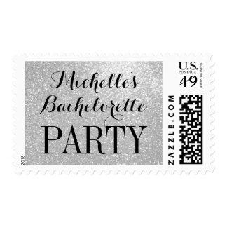 Elegant silver glitter bachelorette party stamps