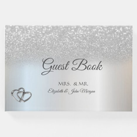 Elegant Silver Glitter Bokeh Hearts Wedding Guest Book