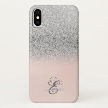 Elegant Silver Glitter Bokeh Monogram iPhone XS Case